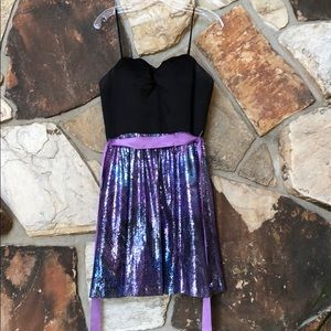 Strapless sequined party dress